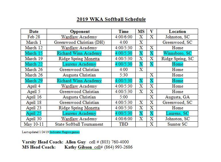 Softball Schedule 2019   JV Softball