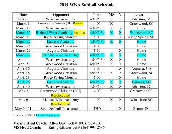 Softball Schedule 2019 updated | Spring Sports