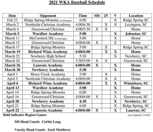 2021 Baseball Schedule Image | JV Baseball