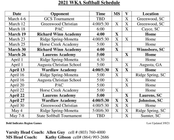 2021 Softball Schedule Image Revised 3.12.21 | JV Softball